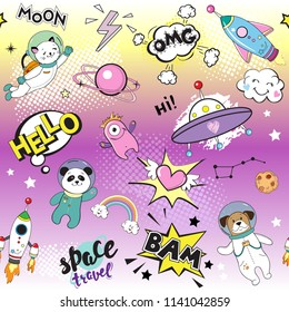 Space objects with space animals. Dog, cat, panda, space rocket seamless pattern