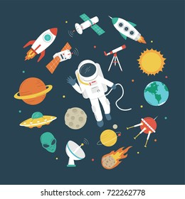 Space objects. Astronaut, rocket, planets, UFO, satellite, etc