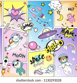 Space objects in comics. With space animals. Unicorn, dog, cat, space rocket seamless pattern