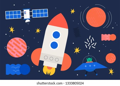 Space objects. Rocket, planets, UFO, satellite, stars, etc