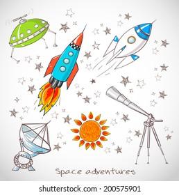 Space objects. Rockets,stars, telescopes. Vector illustration.