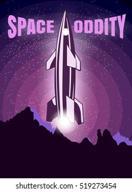 Space oddity. Rocket launch and text. Vector image