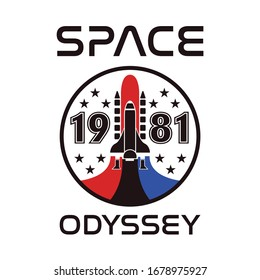 Space Odyssey 1981 Rocket AirBus To The Stars Vector T-shirt Fashion Design