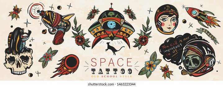 Space. Old school tattoo vector collection. Dead spaceman, girl astronaut, gun blaster, UFO abducts cat, space monster, rocket, meteor. Retro Sci-Fi art. Traditional tattooing style