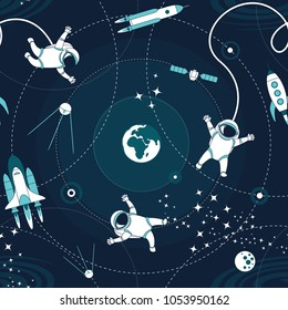 Space orbit spaceships cosmos astronaut spaceman characters exploring outer space seamless abstract background cartoon pattern for wallpaper, textile, prints. Flat line design. Vector illustration.