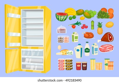 Space organization in freezer. Variety daily products with opened fridge vector illustration isolated on blue background. Saving freshness of nutrients. Weekly supply. For household concept, store ad