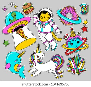 Space Patch Badges in 80s-90s style. Badges with Unicorn, Stars, Cat, Narwhal, Alien and other elements for girls. Vector illustration.