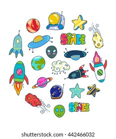Space patches set,colorful collection. Doodle space suit, ship, astronaut, asteroid, spaceship, alien, science, star, planet Earth, Mars, Saturn, clouds... Hand drawn vector illustration.
