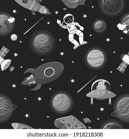 Space pattern with planets and stars. Astronaut with rocket and alien in the open space Cute design for kids fabric and wrapping paper. Flat cartoon style space pattern.