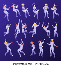 Space people characters in space suits. Floating working people set on a navy-blue background. Business metaphor of working space. Isolated vectors.