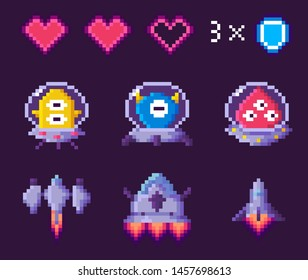 Space pixel game, spaceship and ufo, heart symbols on purple, pixelated cosmic object, space 8 bit video-game, choose hero for battle, screen in dark color with game objects, app vector