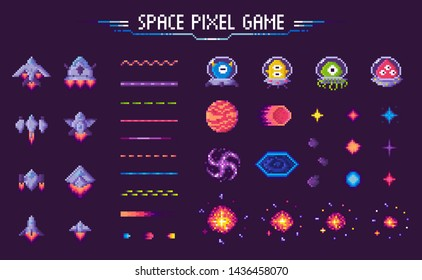 Space pixel game vector, isolated icons of 8 bit graphics, lines and planets, meteors with aliens and monsters, decorative elements of gaming process, pixelated cosmic object for mobile app games