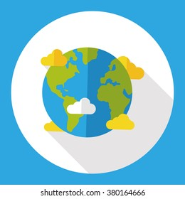 Space planet earth flat icon