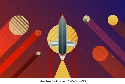 Space, planets, Rocket Vector Background