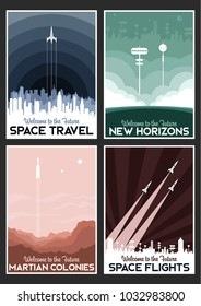 Space Poster Set. Stylization under the Mid Century Modern Travel Posters