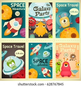 Space Posters Set - Cartoon Aliens and Galaxy Monsters with Shuttles, Rockets and Spaceships. Invitation for Party. Travel Concept. Vector Illustration