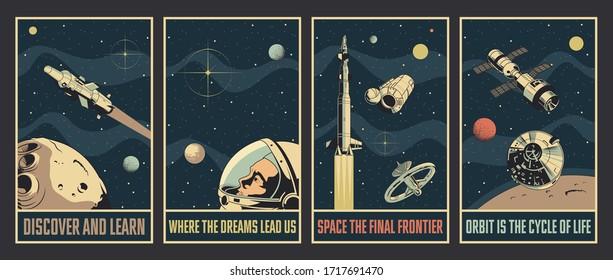 Space Propaganda Posters, Retro Future Sci Fi Style, Rockets, Spacecraft, Astronaut Helmet, Planets, Stars