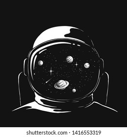 space reflection in an astronauts helmet .Hand drawn style.Prints design.Vector illustration