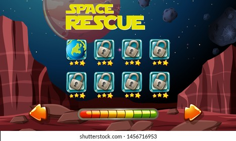 Space rescue game backgound illustration