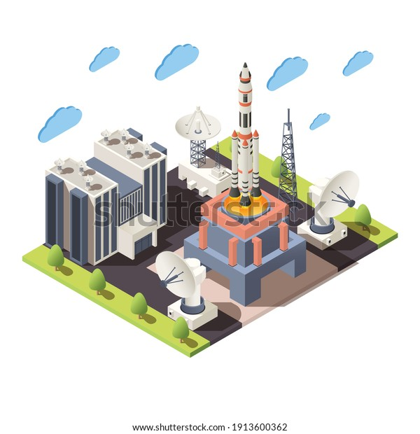 Space research 3d composition with command center launching rocket radars isometric vector illustration