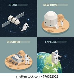 Space research exploration discoveries 4 isometric icons square with astronaut landing on alien planet isolated vector illustration