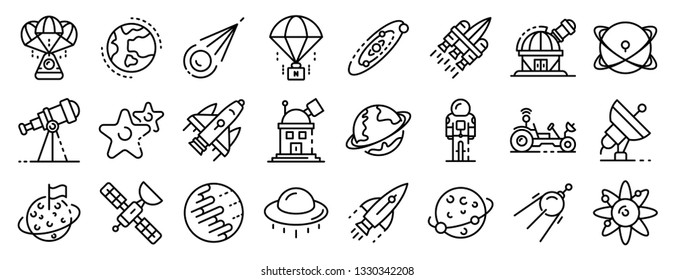Space research technology icons set. Outline set of space research technology vector icons for web design isolated on white background