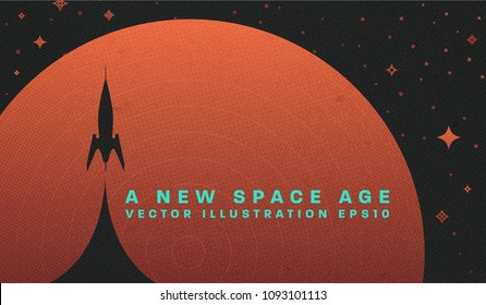 Space retro futuristic abstract background, quantum cosmos exploration and technology vector poster. Minimalistic shapes, stars and lights for science placards, banners and presentations.