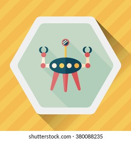 Space robot flat icon with long shadow,eps10