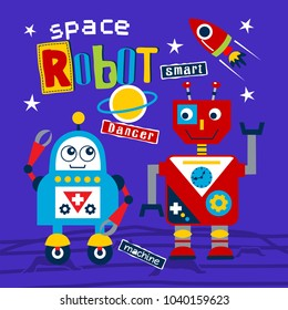 space robot funny cartoon,vector illustration
