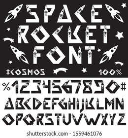 Space rocket alphabet font. Technology, space flights, science. Geometric English letters and numbers. Elements for design