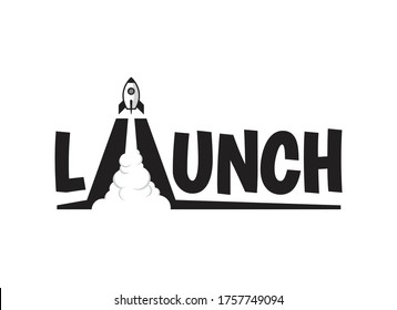 Space rocket blasting off from a launch pad. Vector graphic