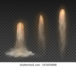 Space rocket bomb Smoke isolated on transparent background