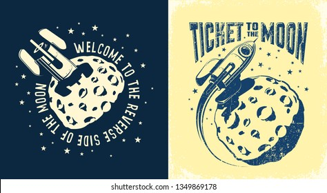 Space Rocket crashed into the moon. Ticket to the moon poster. Vector retro illustration. Worn texture on a separate layer.