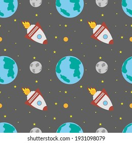 A space rocket flies near the earth and the moon on a gray background. Space exploration. Travel to space. Seamless vector illustration. Background.