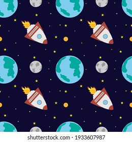 A space rocket flies near the earth and the moon on a dark blue background. Space exploration. Travel to space. Seamless vector illustration. Background.
