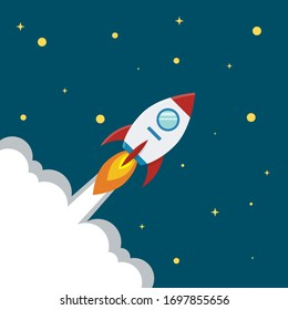 Space rocket flying among the stars. Illustration on dark blue background, space sky color with yellow stars. Flat style. Vector stock image