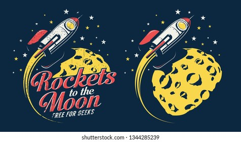Space rocket flying around the planet with craters - retro emblem poster. Grunge worn textures on separate layer.