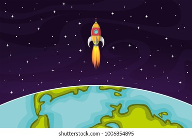 Space rocket flying in space out of the Earth