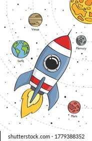 Space rocket flying in space with planets and stars. Educational design for kids. Poster for baby room. Childish print for nursery. Vector illustration.