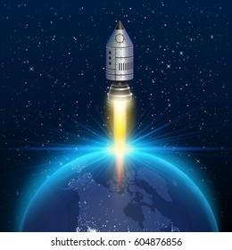 Space rocket launch, Rocket background, Rocket 3d cover, Vector illustration