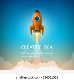 Space rocket launch. Rocket background, Rocket product cover, Startup creative idea, Vector illustration
