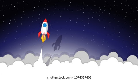 space rocket launch to the night sky, stars and clouds on background. vector paper art or paper cut concept