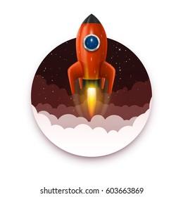 Space rocket launch, Startup creative idea, background, Vector illustration