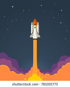 Space rocket launch. Vector illustration of starting space rocket with smoke clouds on dark night sky background.