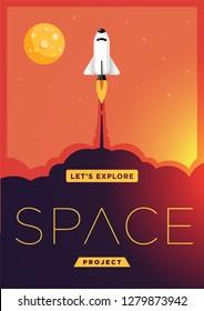 Space Rocket Launching Flat Design Style