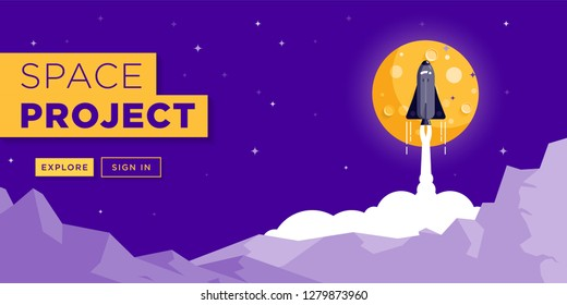 Space Rocket Launching Web Site Banner Design