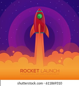 Space rocket launch,ship in a flat style.Vector illustration.