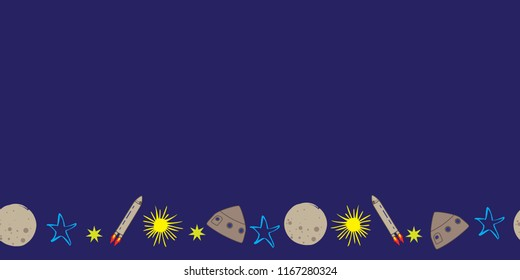 space rocket stars moon planet blue yellow seamless border