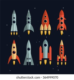 Space rockets vector icons set in flat style. Space exploration and business start up launch concept. Isolated design elements.