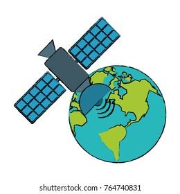 Space satellite around world